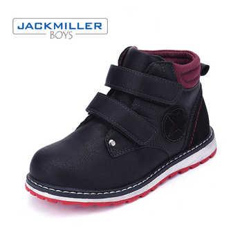 Petits enfants bottines taille 27-32 chaussures enfants garçons décontracté crochet boucle printemps automne plate-forme à lacets noir 2018 Jackmiller