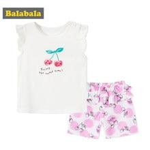 0ce720747 Balabala ropa de bebé niñas establece dulce cereza patrón 100% algodón  verano 2 piezas manga corta Camiseta + Pantalones cortos .