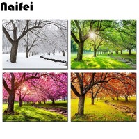 diamond painting kits 4 Piece Canvas Wall Art Spring Summer Autumn Winter Four Seasons Landscape Colorful Tree mosaic Painting