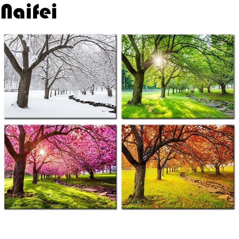 diamond painting kits 4 Piece Canvas Wall Art Spring Summer Autumn Winter Four Seasons Landscape Colorful Tree mosaic Paintingdiamond painting kits 4 Piece Canvas Wall Art Spring Summer Autumn Winter Four Seasons Landscape Colorful Tree mosaic Painting