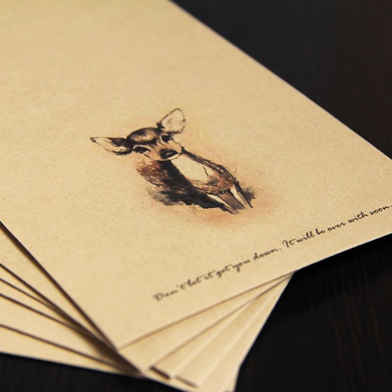 50pcs set paper envelopes vintage brown template cute deer mini
