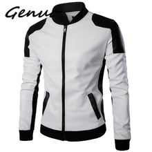 Genuo New Autumn Motorcycle Leather Jacket Stand Collar Slim Men Jackets Coats Retro Zippers Faux Male5XL