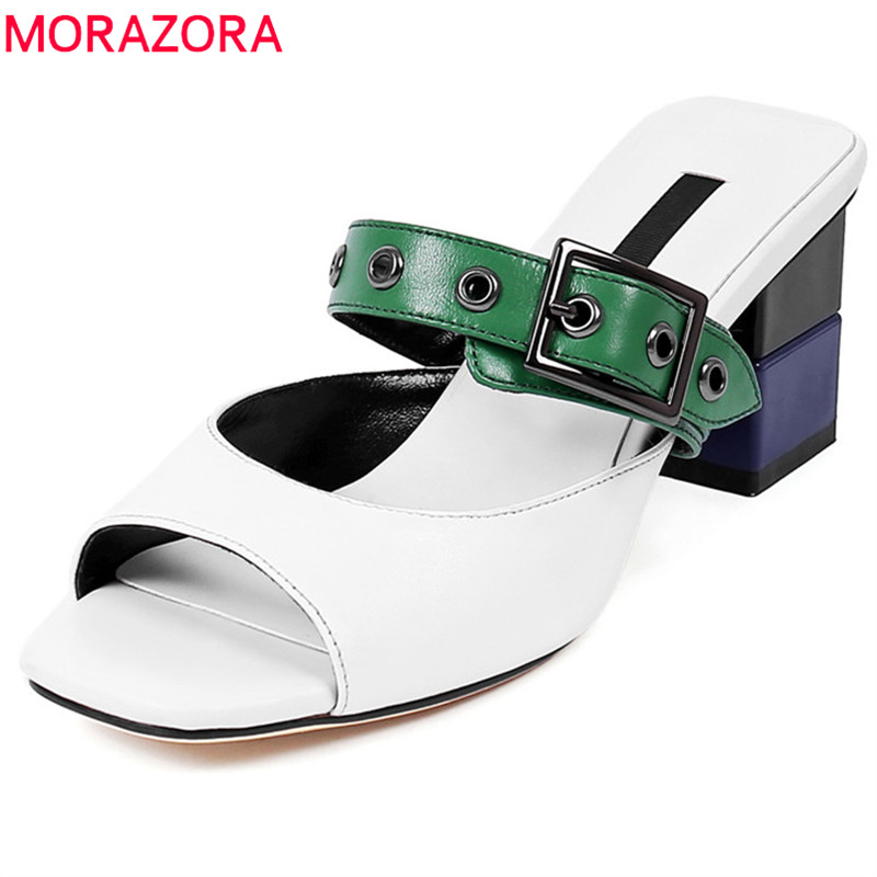 MORAZORA2020 Big size 34 40 genuine leather women sandals comfortable square heel shoes fashion mixed colors