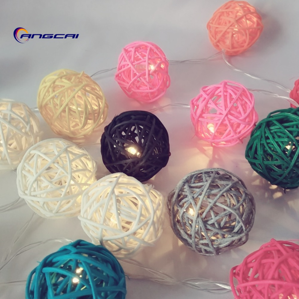 LED String Lights With Rattan Ball Battery Operated Garlands Garden Wedding Nursery Christmas Party Decoration Thailand Style