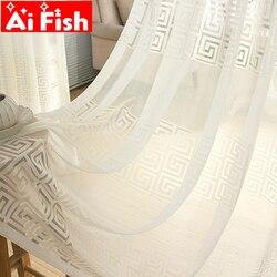 Nowe białe dostosowane solidne zasłony do salonu sypialnia tiul w stylu chińskim rolety gaza do okna tkaniny AP108-20