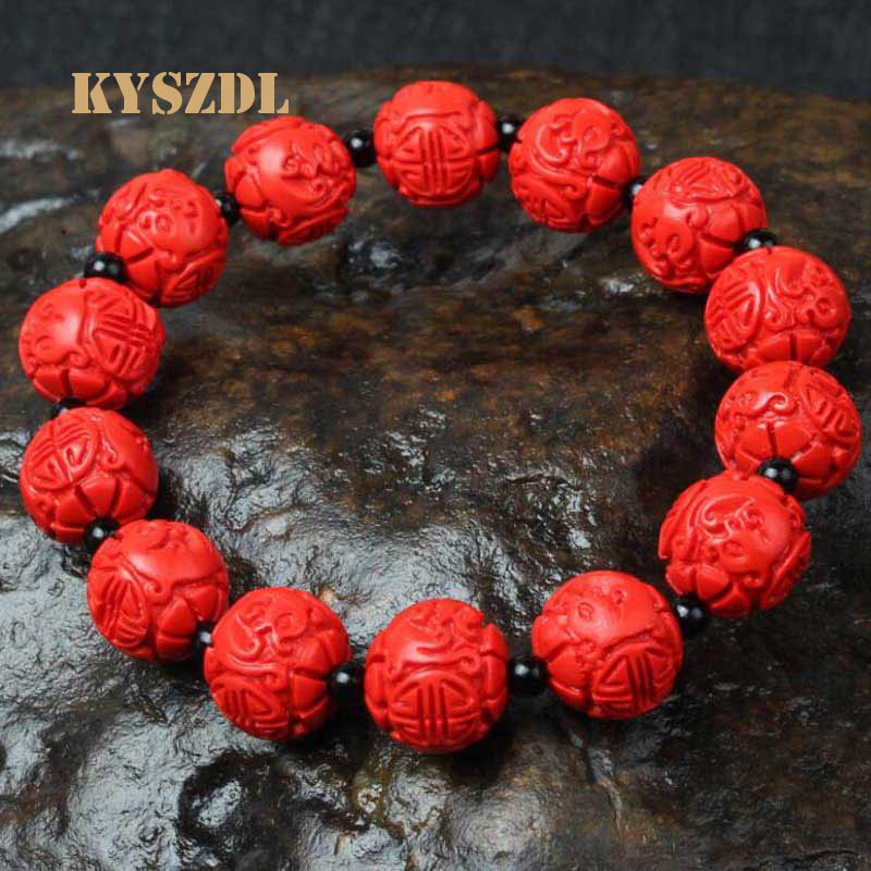 KYSZDL Ethnic style Natural cinnabar Dragon Bracelet Ensure the safety of evil be very choosy Gifts for men and women