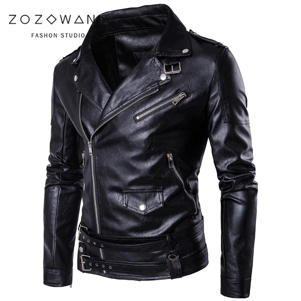 zozowang 2019 new leather jacket men leather jacket motorcycle Fashion Brand Coat Male Biker Jacket Homme Jaqueta Couro Masculin-in Faux Leather Coats from Men's Clothing    1