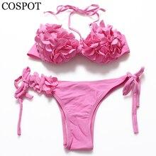 COSPOT Low Waist Bikinis Women 2017 Young girls Swimsuit Sweet Pink Halter Swimwear Flower Beaching suit Maillot De Bain Femme