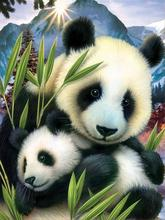 cross stitch diamond mosaic gift Full  home decor Painting embroidery panda mother and child picture Needlework