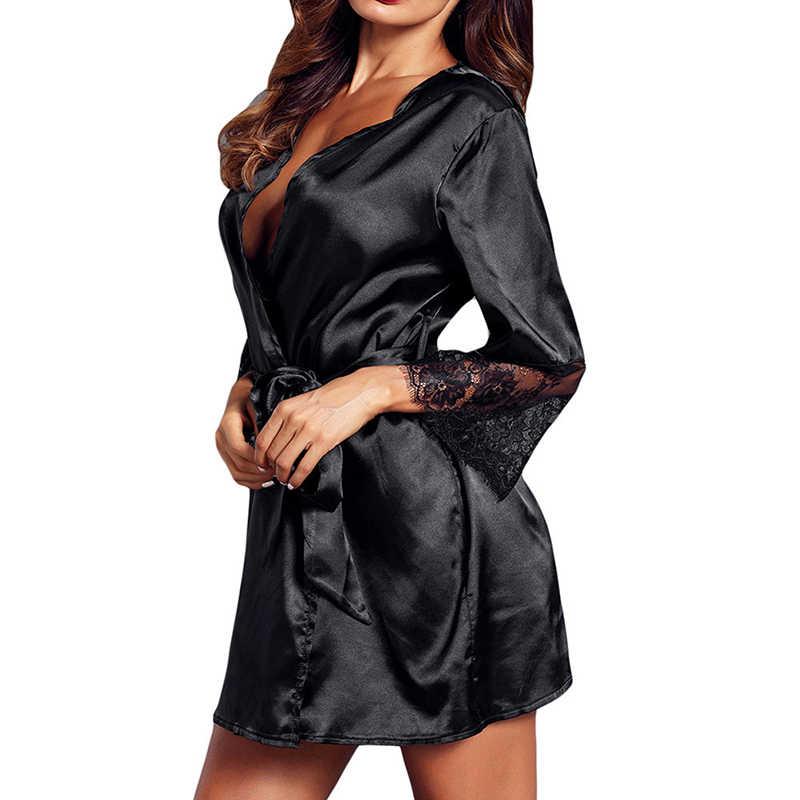 Kadın v yaka elbise uzun kollu dantel kesilmiş Nighties kemer pijama bornozlar bornoz Polyester giyinme kadın ev tekstili