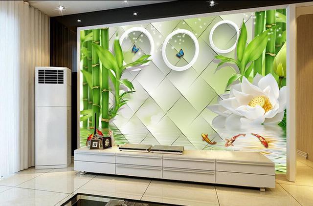 Moderne Wohnzimmer Tapeten Lotus Kreise D Kreis Bambus Hintergrund Wand  Tapeten Fr Wohnzimmer.