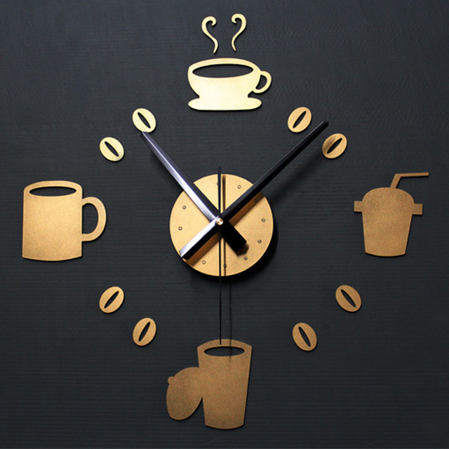 Ordinaire Creative DIY Coffee Wall Clock Modern Design Gold Kitchen Watch Europe Big  Cup 3D Stickers Quartz Digital Clocks Home Decor