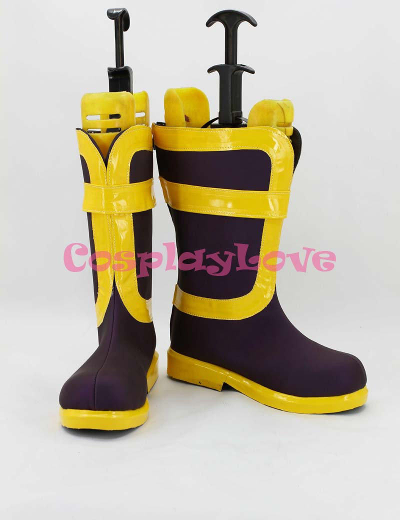 Custom Made Fairy Tail Natsu Dragneel Purple & Yellow Cosplay Boots Shoes For Christmas Halloween Festival Birthday CosplayLove