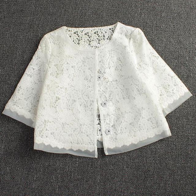 Primavera verano nueva chaqueta chal de encaje de gran tamaño abrigo de Un Solo pecho blanco del organza de las mujeres hollow Tops Traje
