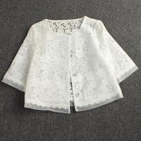 Printemps été nouvelle dentelle châle veste grande taille femmes de organza manteau Single-breasted blanc creux Costume Tops