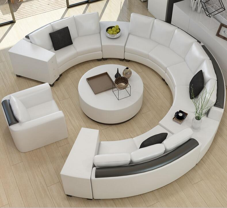 Round top grain leather sofa custom creative fashion living room sofa combination of modern Circular couches living room furniture