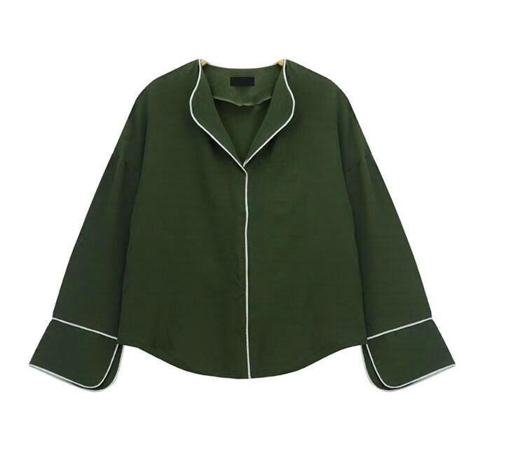 Дикий простой ленивый пакет край v-образным вырезом с длинными рукавами  шифон рубашка женская осень прилив 9b511b3d3bb