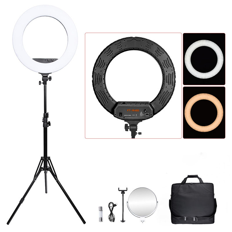 fosoto 18 inch FT R480 Bi color photographic lighting 3200 5800K 48W Led Ring LIght Lamp