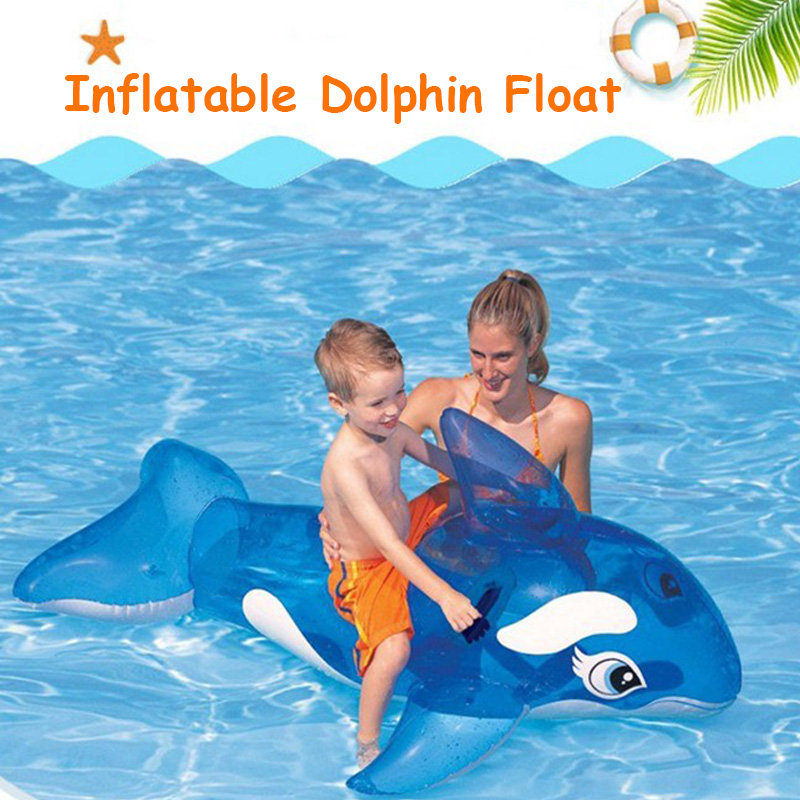 Inflatable Mattress Dolphin Whale Pool Float 59 Inches Water Toy Ride-on Swimming Circle Ring Piscina Party For Children Adult
