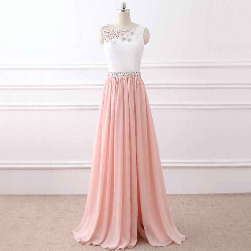 Pink Formal Evening Dresse Tank Sleeveless Evening-party-dress Chiffon  Occasion Dresses Beading Long 33da500b693c