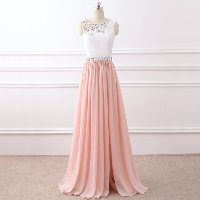 Pink Formal Evening Dresse Tank Sleeveless Evening-party-dress Chiffon Occasion Dresses Beading Long A-line Evening Party Dress