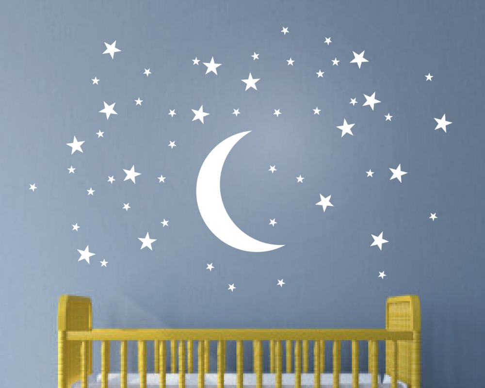 50 stars and moon wall stickers for kids room creative white stars baby wall decals nursery wall. Black Bedroom Furniture Sets. Home Design Ideas