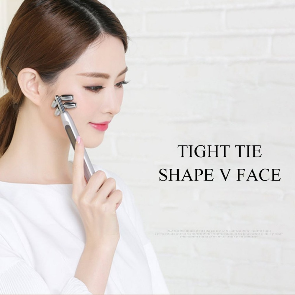 F83 V Face Massager Roller Face Tighten Skin Wrinkle Remover Chin Slimming Solar Energy Microcurrent Massage Beauty Device 3d roller face lift ball v face spa massage tightness skin facial wrinkle remover chin body slim beauty tool massager care