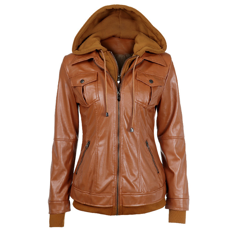Popular Hooded Leather Jackets Women-Buy Cheap Hooded Leather