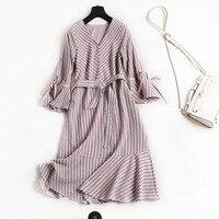 Empire Waist Ruffles Striped Women Office Lady Dress New 2018 Spring Summer Dress Three Quarter Sleeve