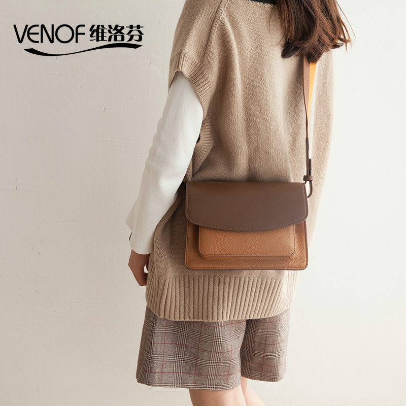 VENOF real Leather shoulder bag for women High grade contrast color female messenger bag exquisite ladies