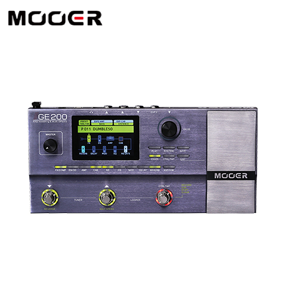 US $353 25 20% OFF|MOOER GE200 Guitar multi effects 55 high quality  amplifier models 52 second looper with half speed and reverse effects-in  Guitar