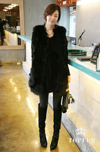 Genuine real natural raccoon fur vest women's Long coat jacket Free shipping custom any size