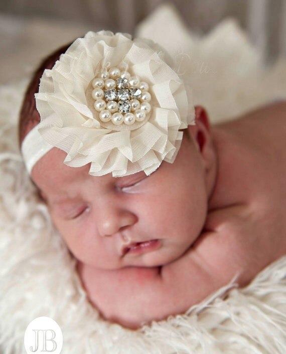 Aliexpress.com Comprar Bebé de la gasa de flores diademas knitting flores  de lana con vinchas centro de la perla 20 unids/lote de flower headwrap  fiable