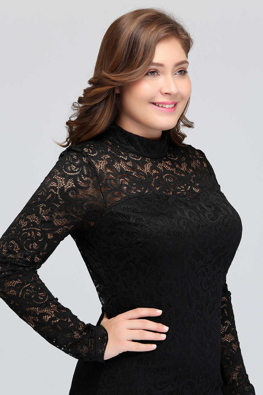 10373b30a6 ... Cheap cocktail dresses plus size Women s Sexy Lace Long Sleeve Knee  Length Short cocktail party dress ...