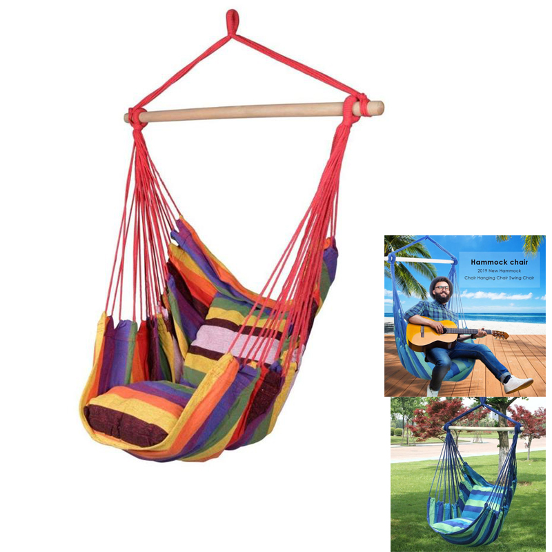Hammock Hanging Rope Chair Swing Chair Seat With 2 Pillows Travel Camping Hammock Swing Chair Bed For Outdoor Garden
