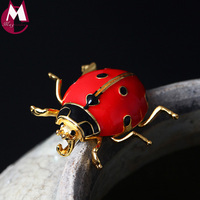 Men Women Enamel Red Seven star Ladybug Lovely Insect Brooch Scarf Jewelry Clips Pins Real 925 Sterling Silver Wedding Gift YX08