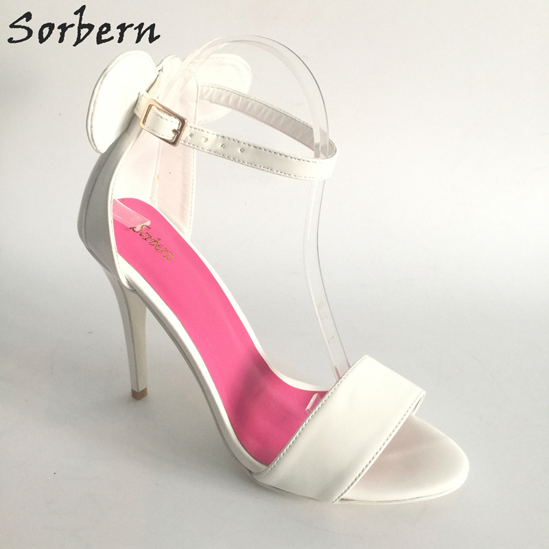 Sorbern White Wedding Shoes Female Shoes Ankle Strap Party Sandals For Women Ears Open Toe Bridal Sandals Stilettos Heels gold women sandals wedding party high heels cross straps bridal party sandal shoes womans size 11 shoes open toe ankle strap