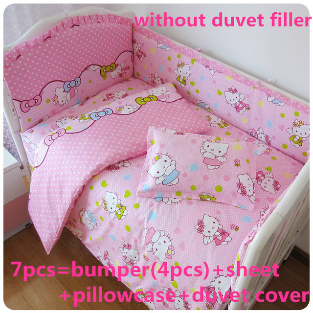 Promotion! 6/7PCS Hello Kitty baby crib bedding sets 100% cotton baby quilt bed around,120*60/120*70cm