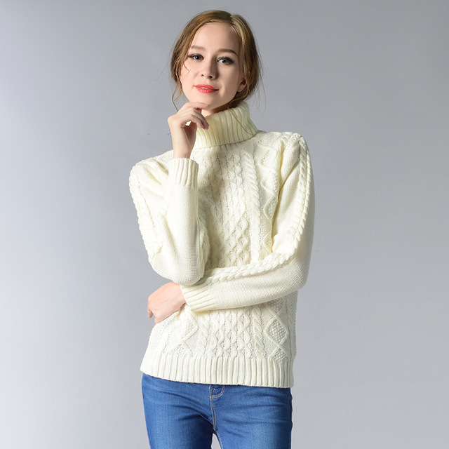 Women Winter Sweater Solid Long Sleeve Femme High Collar Jumper
