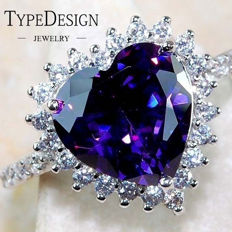 Romantic Lover Big Purple Heart Ring 925 Anillos Silver Inlay CZ Stone Engagement Ring Vintage Party Wedding Rings For Women