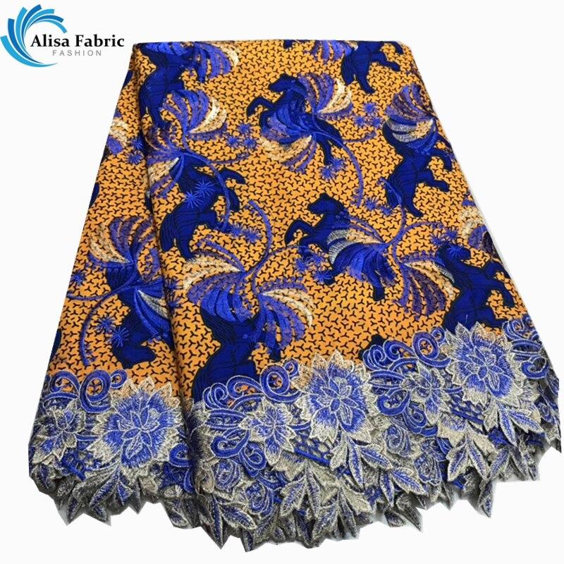 Alisa ล่าสุดไนจีเรีย guipure ลูกไม้ผ้า 2019 คุณภาพสูงแอฟริกันผ้า Gold สีผ้าบาติกผ้าลูกไม้ 6 หลา/pcs สำหรับจักรเย็บผ้า-ใน ลูกไม้ จาก บ้านและสวน บน   1