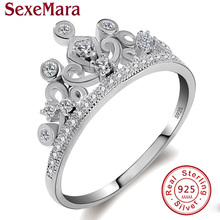 2017 925 sterling silver femme engagement crown rings band cz crystals jewelry jz42 anillos mujer casamento anel feminino ouro