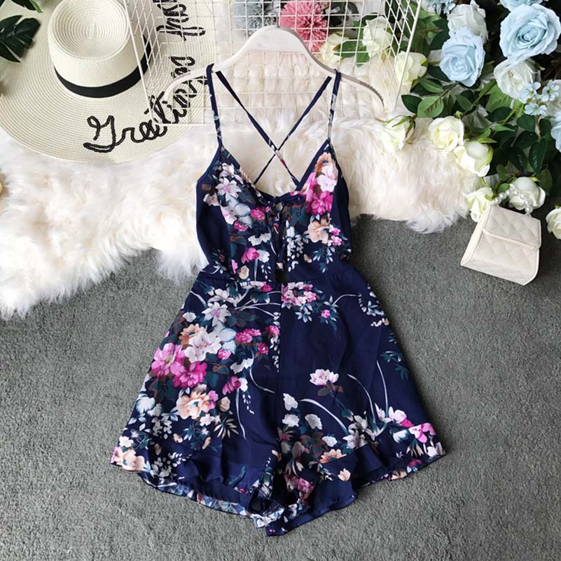 New Summer Lace Up Shorts Playsuits Women Rompers Print Floral Jumpsuits Bohemian Beach Holiday Body Mujer in Rompers from Women 39 s Clothing