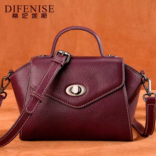 Difenise Luxury Brand Trapeze Split Shoulder Bag Original Design Genuine Leather Fashion Handbag Women Crossbody Messenger Bag