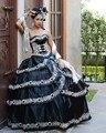 Vestidos de 15 anos presentación Vestidos de Quinceañera Cariño Apliques Vestidos de Bola Negro Y Blanco Elegante Vestidos de Quinceañera 2017