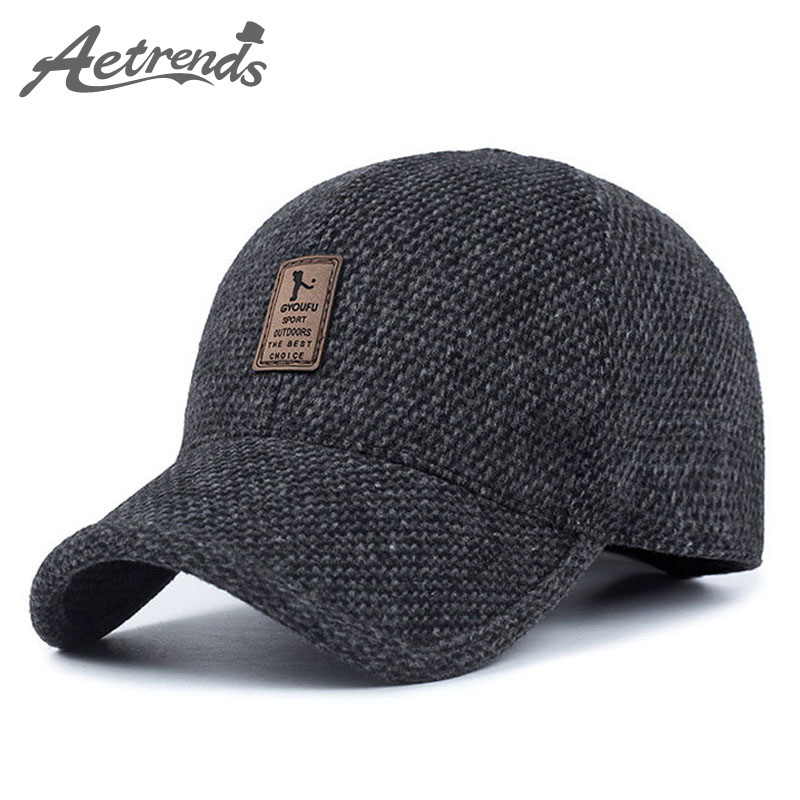 [AETRENDS] Woolen Knitted Design Winter Baseball Cap Männer verdicken warme Hüte mit Ohrenklappen Z-5000