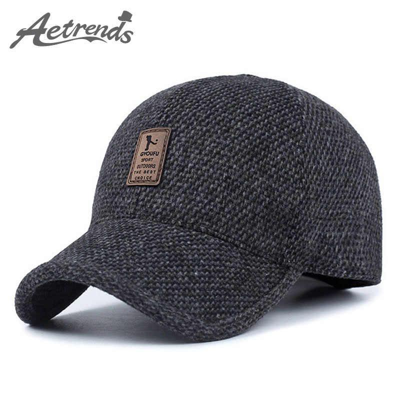88ee3506dda  AETRENDS  Woolen Knitted Design Winter Baseball Cap Men Thicken Warm Hats  with Earflaps Z