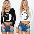 2016 New Fashion Women Casual Long Sleeve Moon Print Crop Top T-Shirt SX-031330