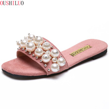 New Women Pearl Beach Shoes Flat Woman Sandals Summer 2019 Lady Fashion Slippers Luxury Shoe Designers Slipper