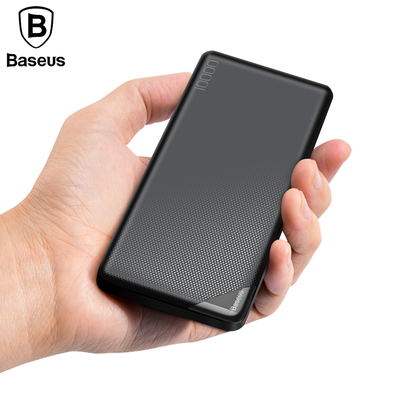 Baseus 10000 mah Puissance Banque Pour iPhone Mobile Téléphone Batterie Externe Mini Banque D'alimentation Portable Double USB Chargeur Powerbank